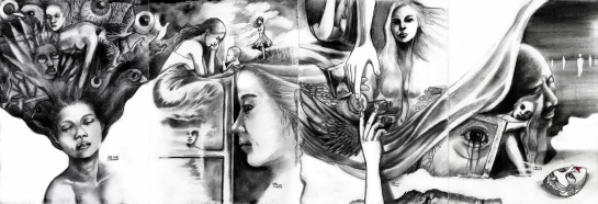 """""""Four Chapter In A Bedroom (full set)"""" Charcoal and pencil on paper ©Alf Sukatmo 2015"""