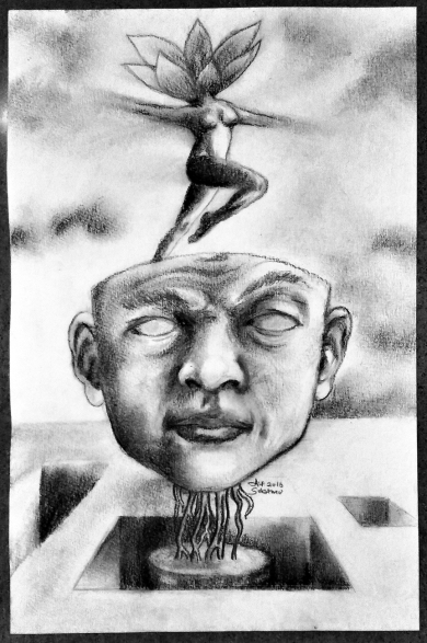 """Headache"" Charcoal on paper ©Alf Sukatmo. 2016"